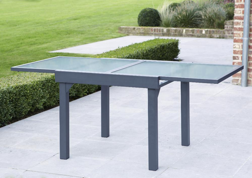 Table jardin modulo 90 180cm for Table de jardin en aluminium avec rallonge