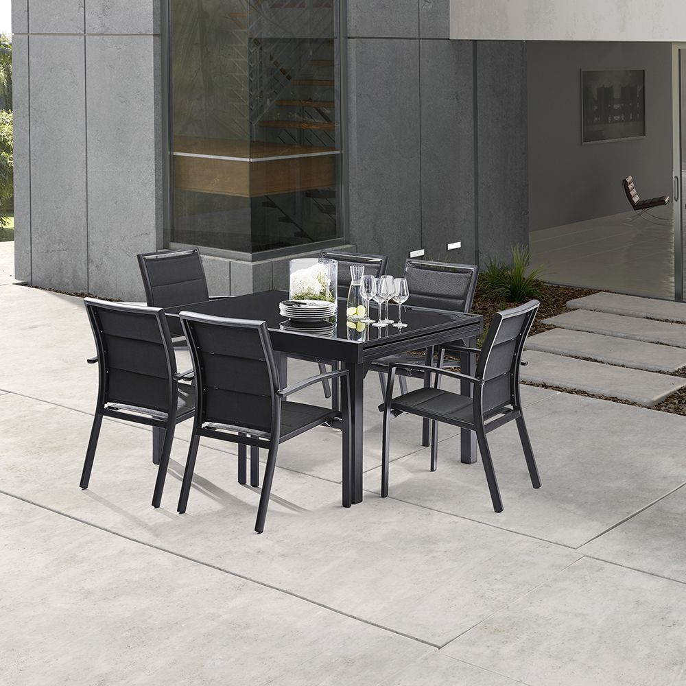 table jardin modulo 6 10 personnes noir. Black Bedroom Furniture Sets. Home Design Ideas