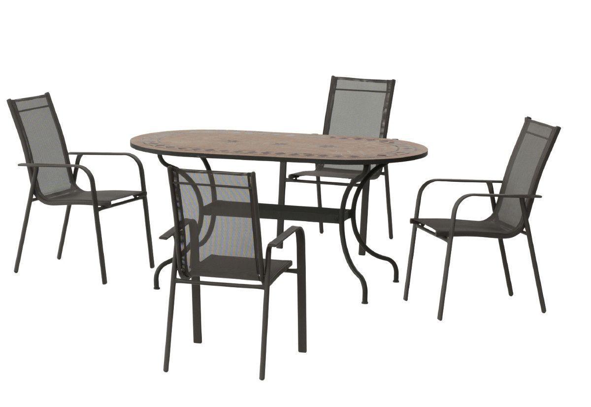 Table jardin et fauteuils 4 places asburgo grecia for Fauteuil 4 places