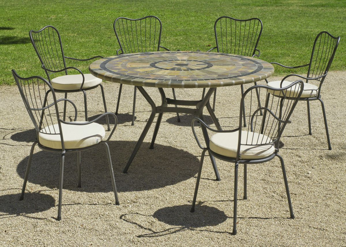 table de jardin ronde et fauteuils edna. Black Bedroom Furniture Sets. Home Design Ideas