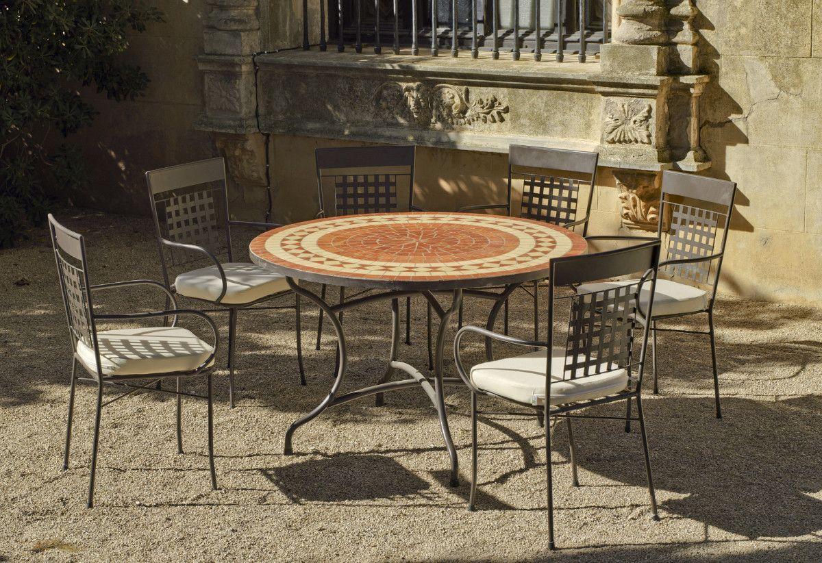 Table de jardin ronde et fauteuils lorny vigo (6 fauteuils)