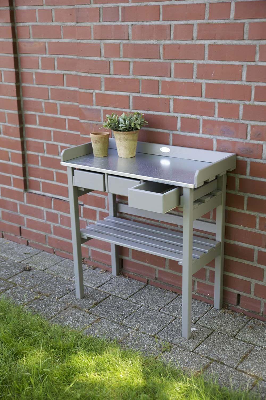 table de jardinage en pin et zinc. Black Bedroom Furniture Sets. Home Design Ideas