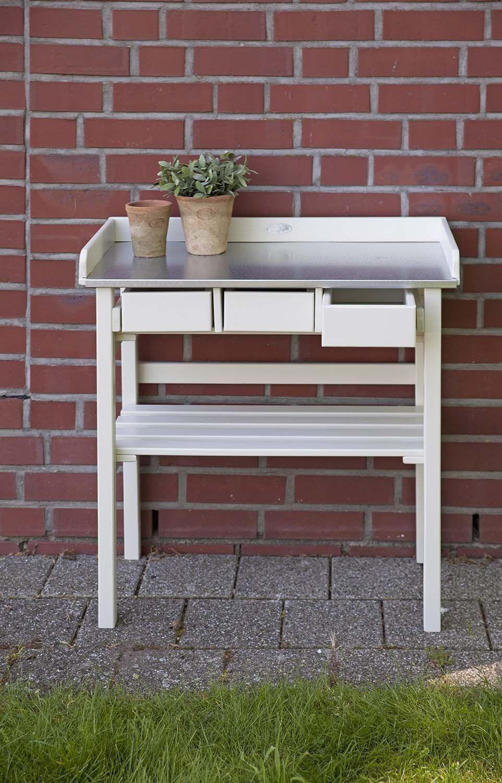 Table de jardinage en pin et zinc for Table de jardinage en hauteur