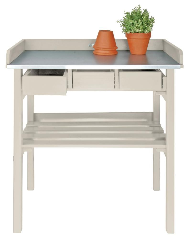 Table de jardinage en pin et zinc