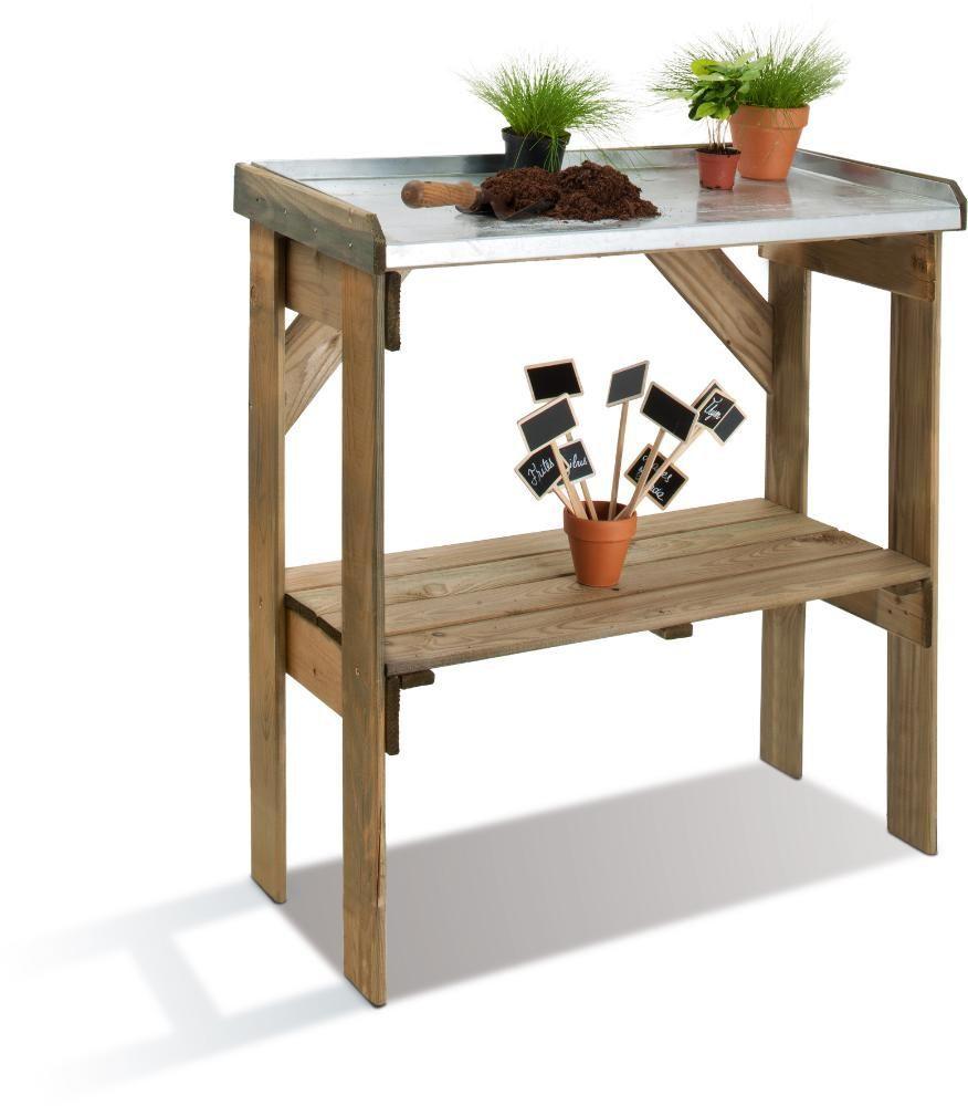 table de rempotage bois et zinc. Black Bedroom Furniture Sets. Home Design Ideas