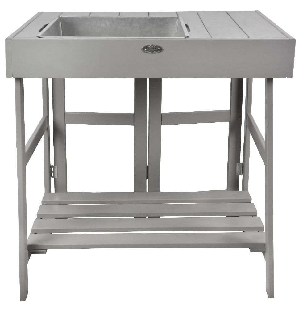 Table de rempotage en pin et zinc