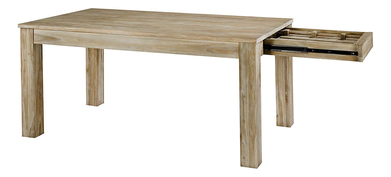 Table repas rectangulaire en teck avec allonge origine - Table rectangulaire avec allonge ...