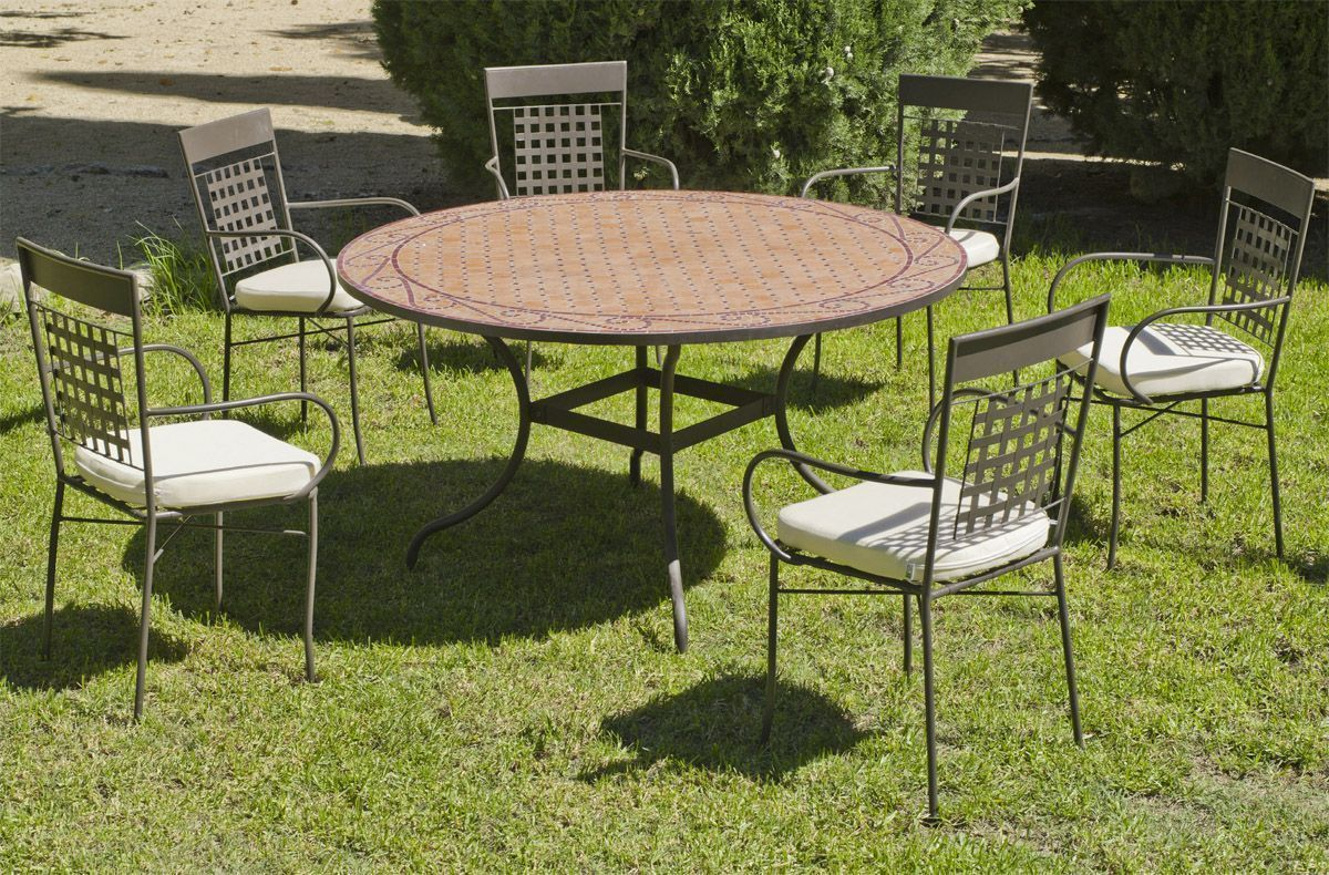 Table ronde de jardin et 6 fauteuils belice vigo for Table ronde 6 places