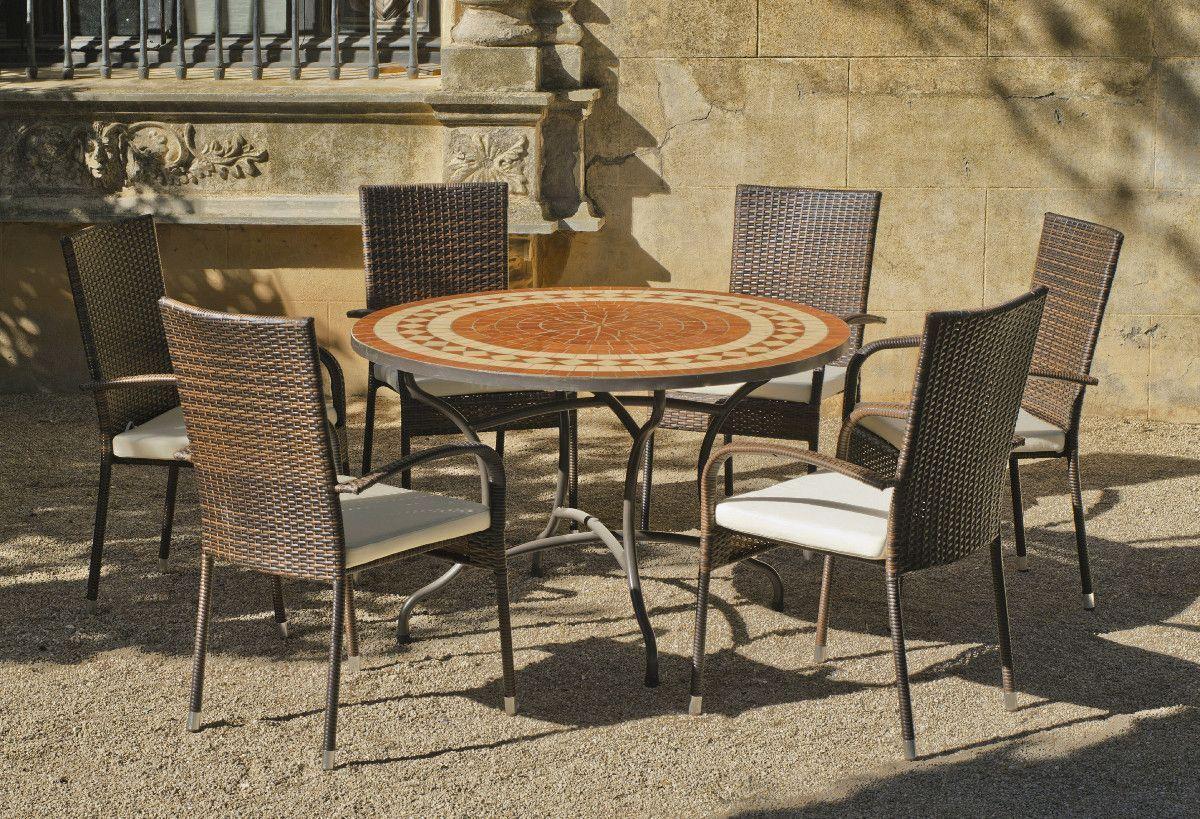 Table ronde mosaïque et fauteuils lorny bergamo (6 fauteuils)