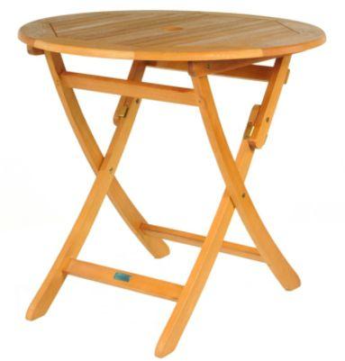 table ronde pliante look teck. Black Bedroom Furniture Sets. Home Design Ideas