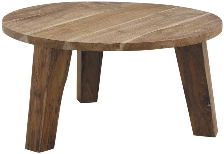 Table ronde en teck for Table ronde bois blanc avec rallonge