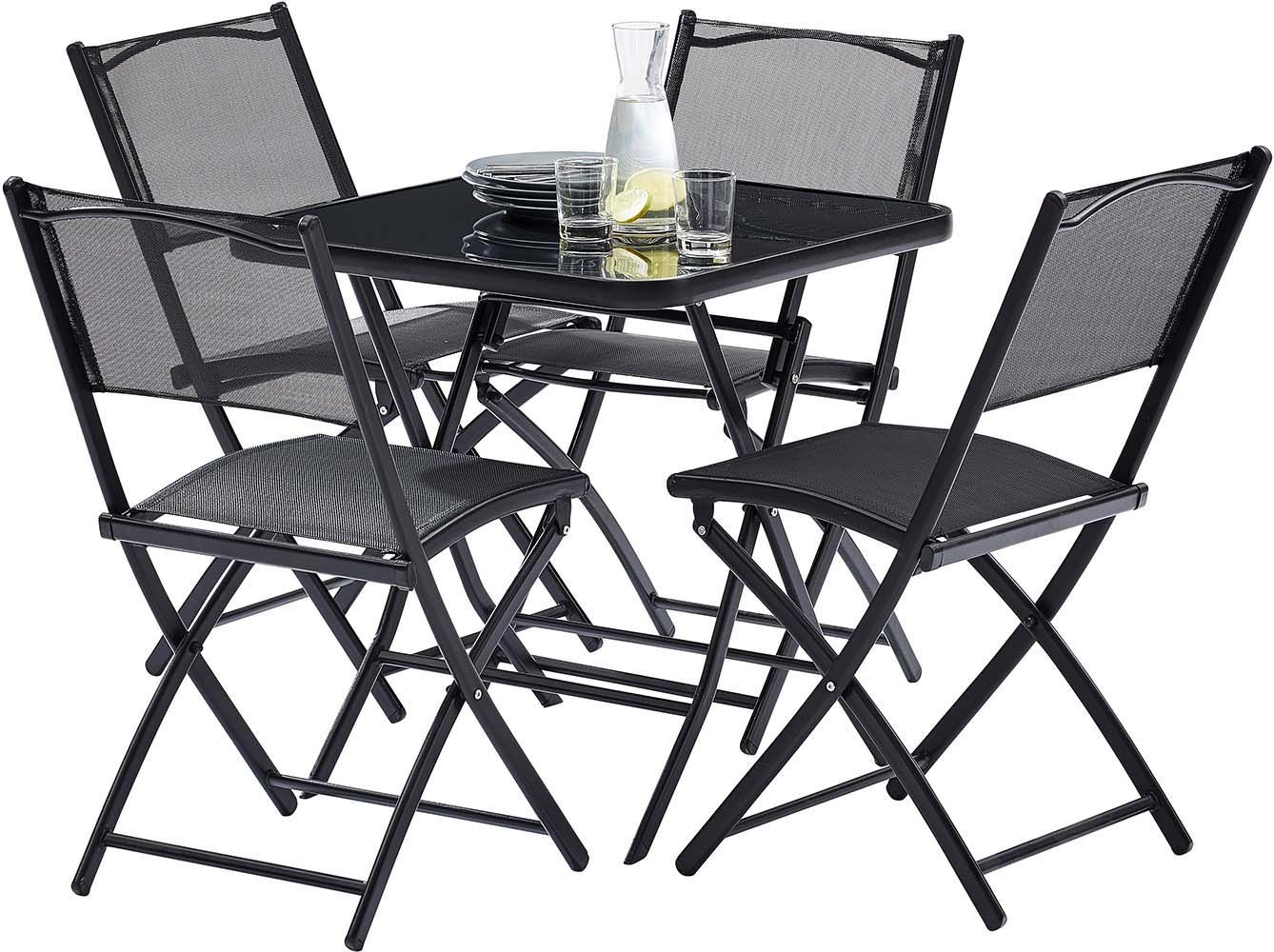 table terasse 4 personnes avec chaises pliantes aciro. Black Bedroom Furniture Sets. Home Design Ideas