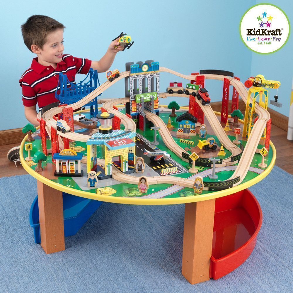 Table et train Explorateur en bois