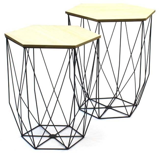 tables gigognes filaires lot de 2. Black Bedroom Furniture Sets. Home Design Ideas