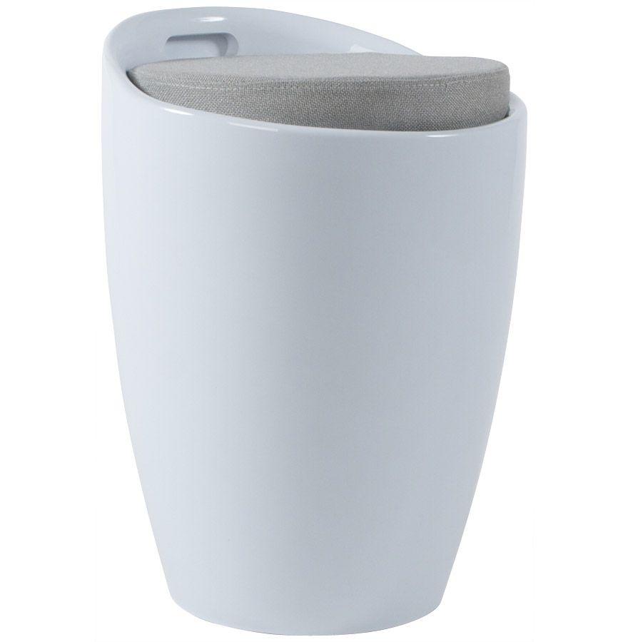 tabouret pouf ese avec rangement blanc blanc. Black Bedroom Furniture Sets. Home Design Ideas