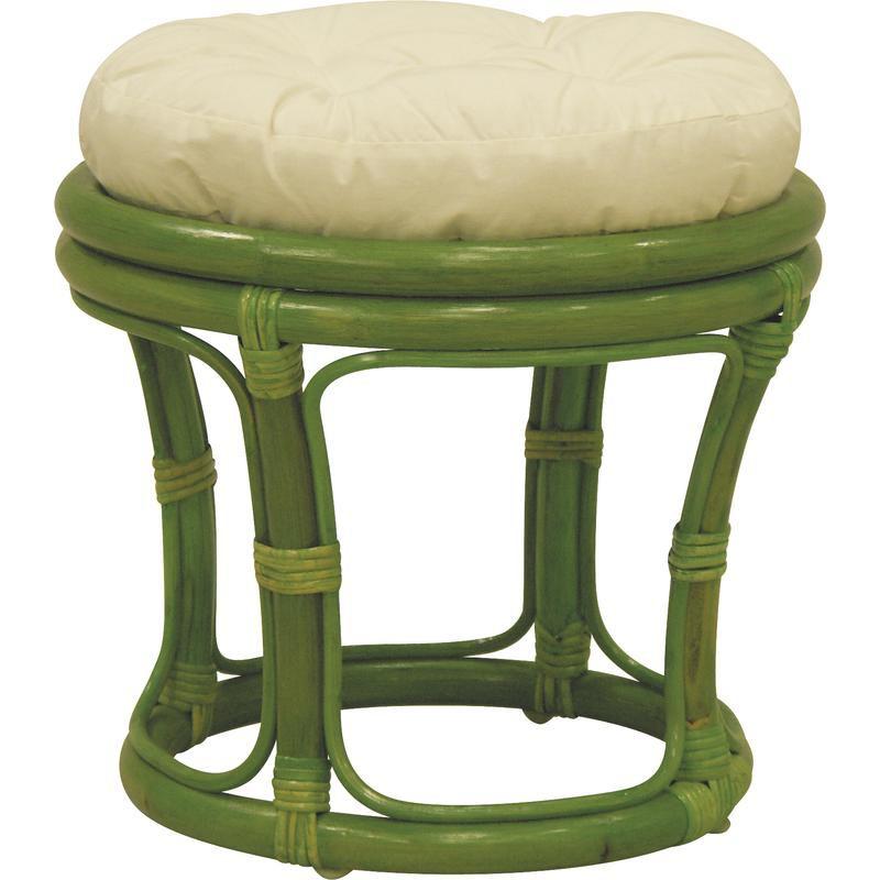 tabouret en rotin avec coussin vert. Black Bedroom Furniture Sets. Home Design Ideas