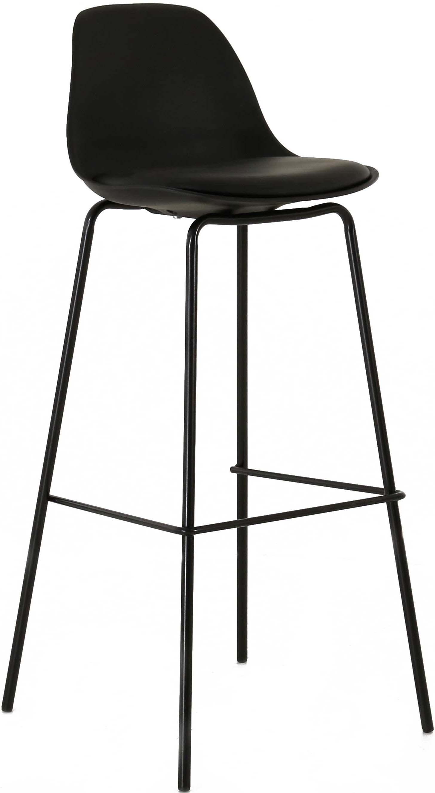 tabouret de bar avec dossier ray noir. Black Bedroom Furniture Sets. Home Design Ideas