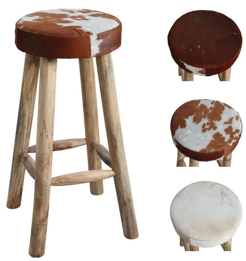 tabouret de bar en peau de vache et bois. Black Bedroom Furniture Sets. Home Design Ideas