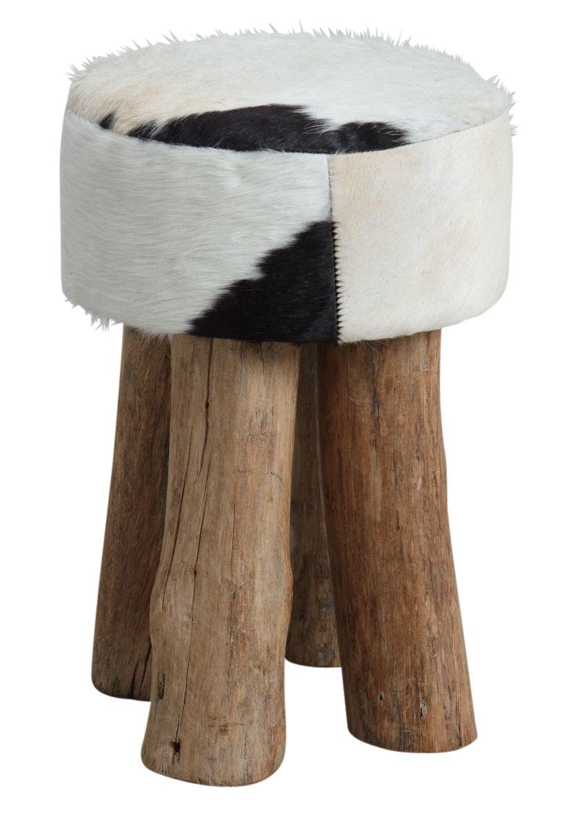tabouret rond en peau de vache. Black Bedroom Furniture Sets. Home Design Ideas