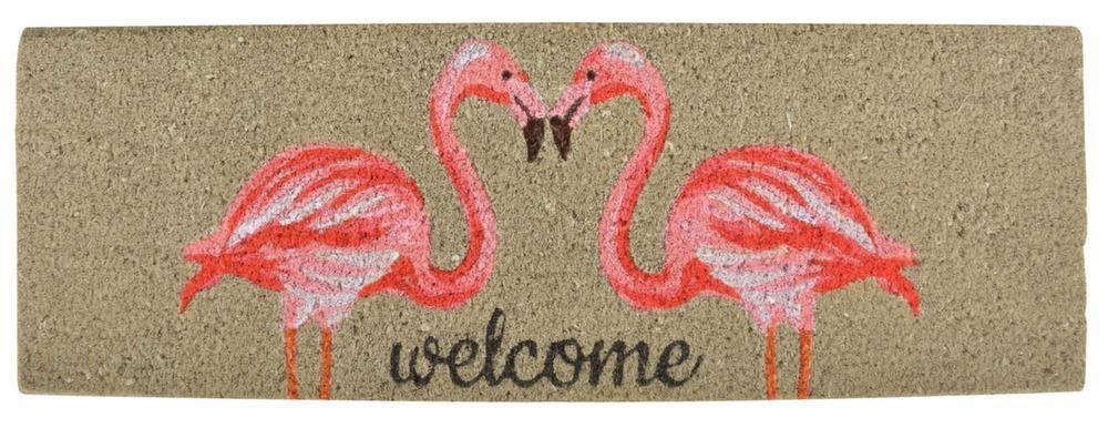 tapis en fibres de coco motif flamands roses. Black Bedroom Furniture Sets. Home Design Ideas