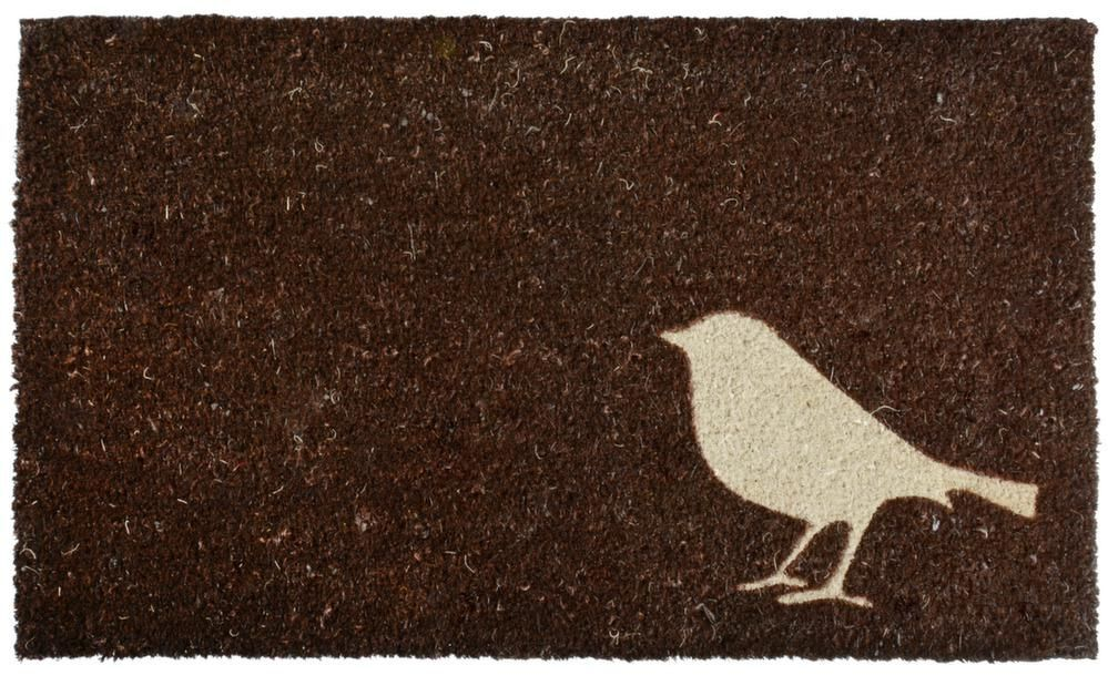 tapis en fibres de coco motif oiseau marron. Black Bedroom Furniture Sets. Home Design Ideas