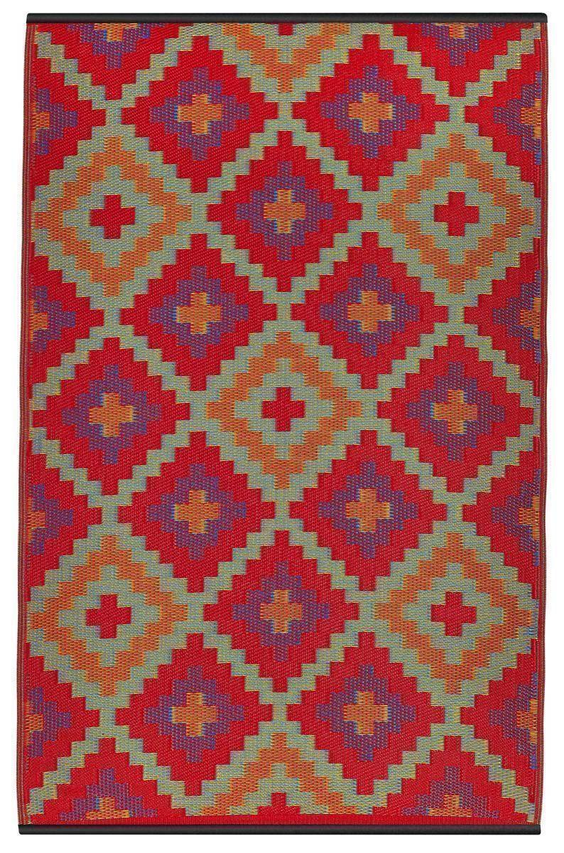 Tapis int rieur ext rieur saman orange et violet petit for Petit tapis exterieur
