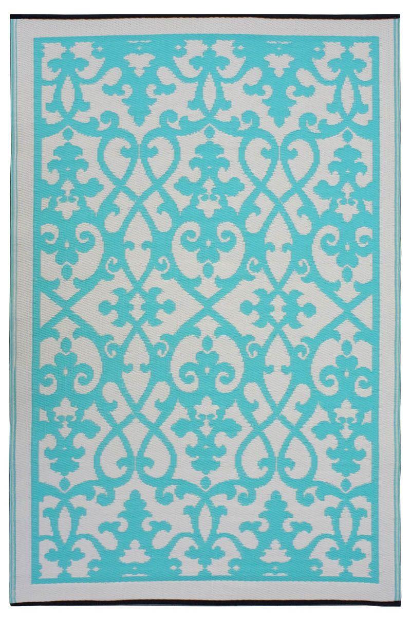 Tapis int rieur ext rieur venice cr me et turquoise petit for Petit tapis exterieur