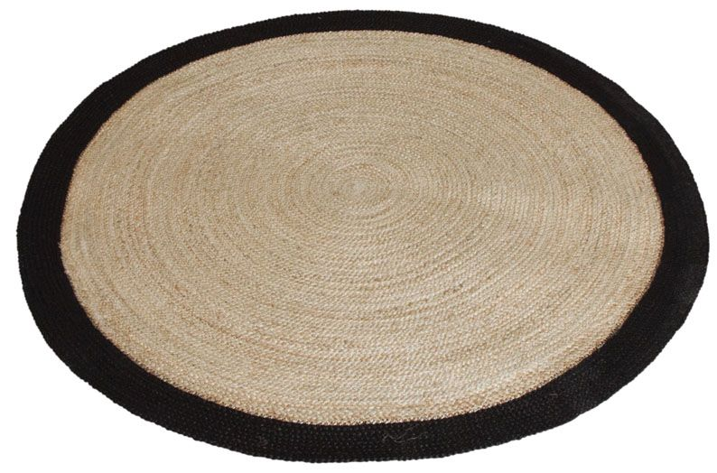 tapis rond jute naturelle avec bords noirs diam tre 120cm. Black Bedroom Furniture Sets. Home Design Ideas