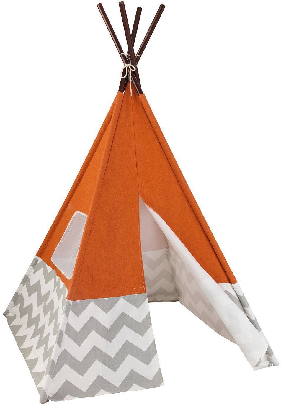 tipi enfant en toile et bambou orange. Black Bedroom Furniture Sets. Home Design Ideas