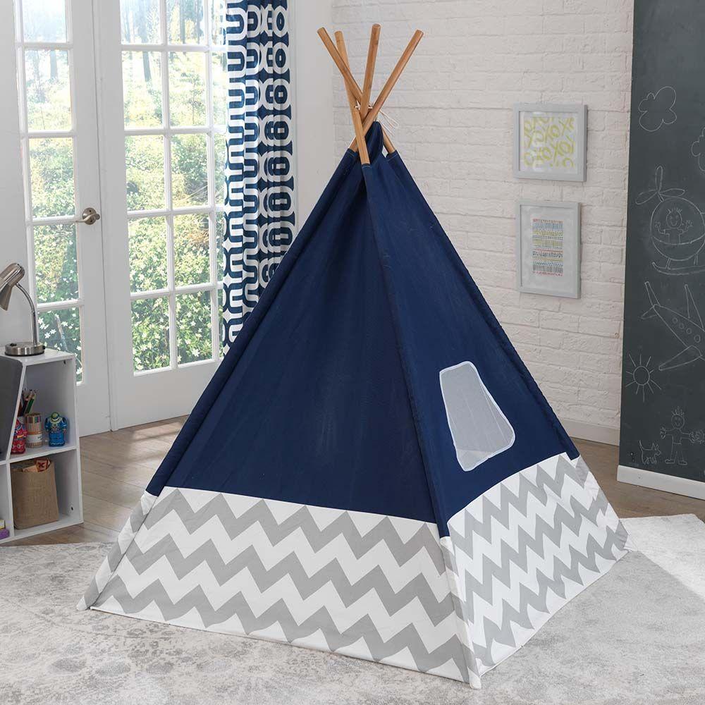tipi enfant en toile et bambou bleu marine. Black Bedroom Furniture Sets. Home Design Ideas