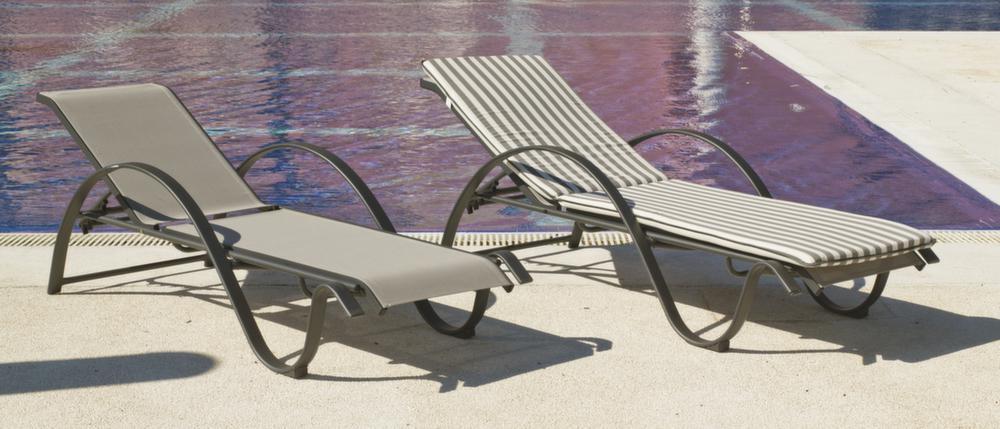 Transat de bain design aluminium horizon transat bain de soleil sur jardind - Transat aluminium textilene ...