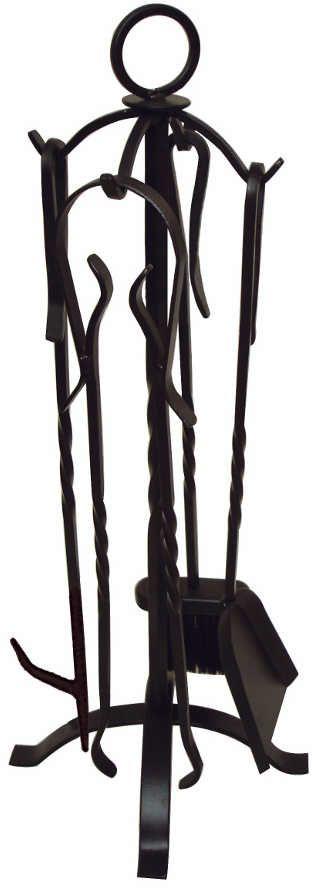 Valet de chemin e 4 accessoires en fer forg for Valet de chambre en fer forge