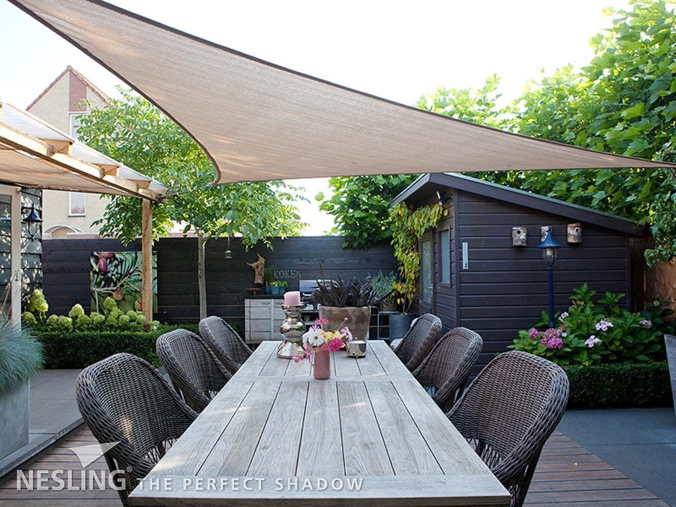 voile d 39 ombrage triangulaire coolfit sable 3 6 x 3 6 x 3 6 m. Black Bedroom Furniture Sets. Home Design Ideas