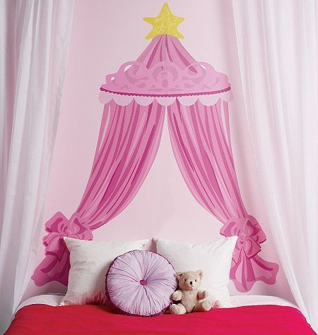 sticker ciel de lit princesse sticker d co wallies sur. Black Bedroom Furniture Sets. Home Design Ideas