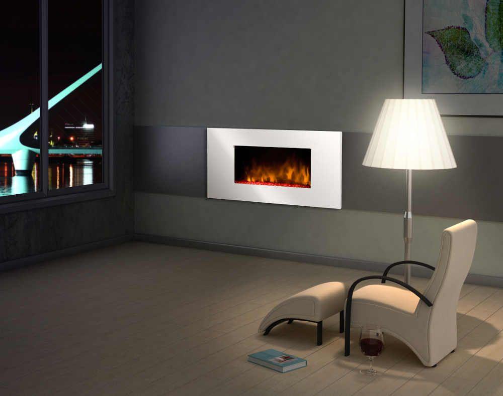 Chemin�e design white loft en acier et mdf laqu� blanc 96x15x56cm