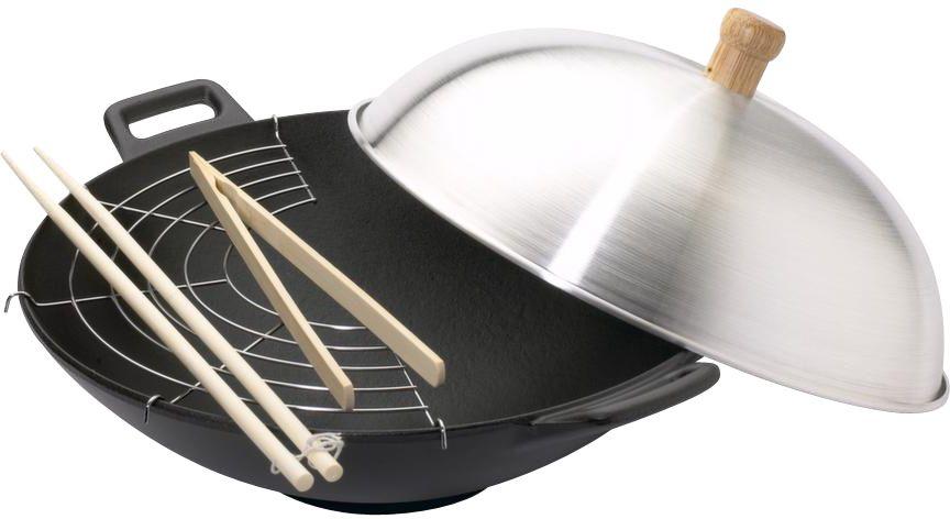 wok en fonte 33cm tous feux et induction. Black Bedroom Furniture Sets. Home Design Ideas