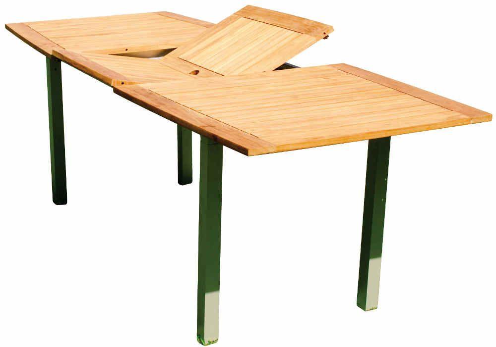 Table De Jardin Teck Et Aluminium ~ Table de jardin en Teck et Aluminium avec Allonge centrale 220x98x73cm