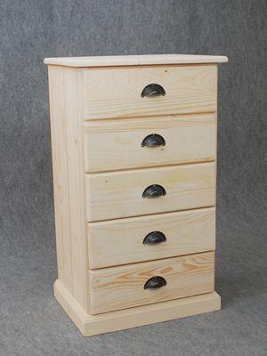 chiffonnier en bois brut 5 tiroirs 53x92x40cm commode aubry gaspard sur. Black Bedroom Furniture Sets. Home Design Ideas