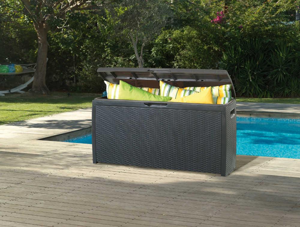 Coffre de rangement pour jardin en r�sine aspect rotin 265 litres 117x45x58cm