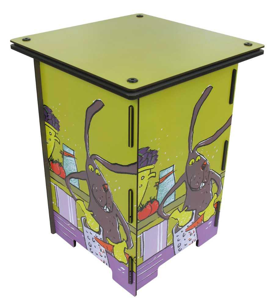 Table lapin en bois cuisinier pour enfant 31,5x42,5cm
