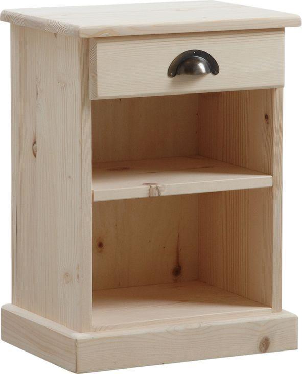 Table de nuit bois brut 1 etag�re 1 tiroir
