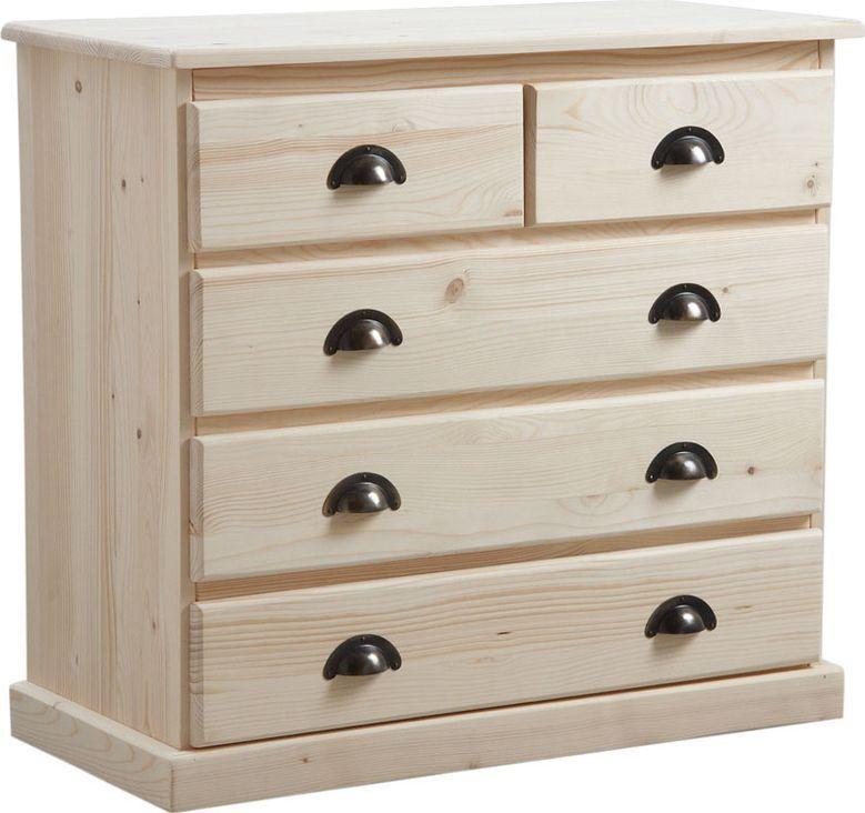 Commode 5 tiroirs en bois brut 83x77x40cm - Commode en bois pas cher ...