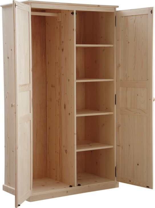 armoire 2 portes en bois brut 100x56x180cm armoire aubry gaspard sur. Black Bedroom Furniture Sets. Home Design Ideas