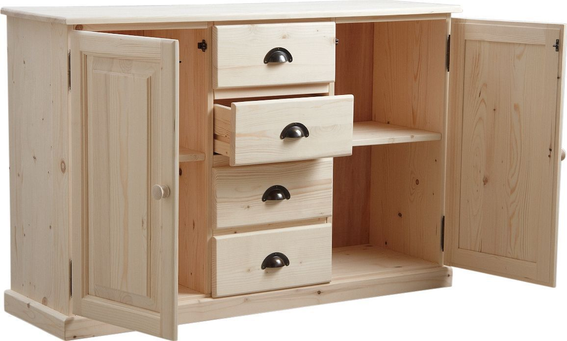 buffet en bois brut 2 portes 4 tiroirs 125x83x40cm. Black Bedroom Furniture Sets. Home Design Ideas