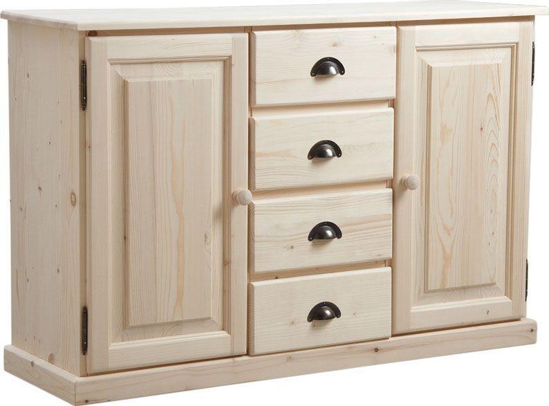 buffet en bois brut 2 portes 4 tiroirs 125x83x40cm. Black Bedroom Furniture Sets. Home Design Ideas