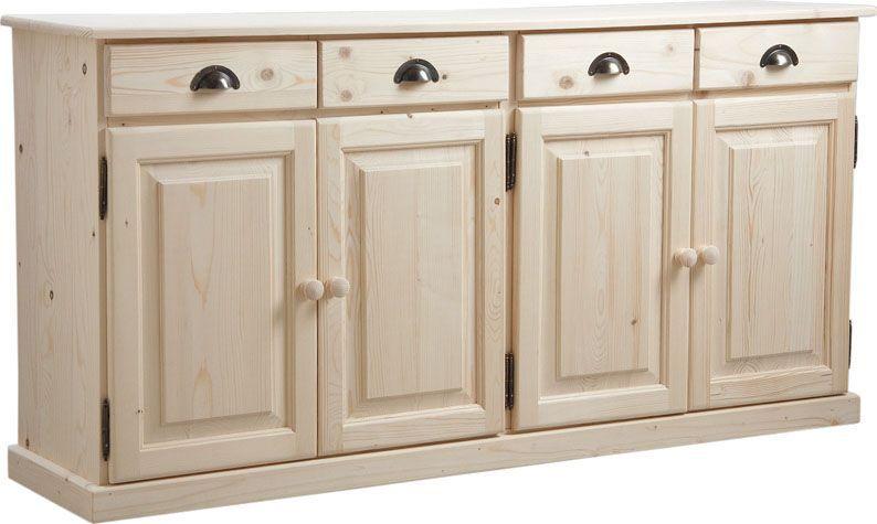 Buffet en bois brut 4 portes 4 tiroirs 165x40x83cm