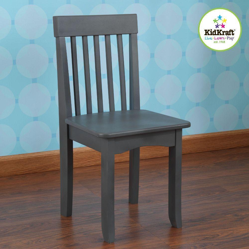 Chaise grise en bois pour enfant 34x32x68cm