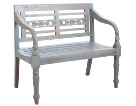 Banc 2 places en acajou (Bleu antique)