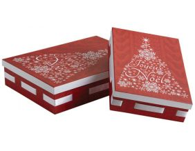 Boites de Noël rectangulaires en carton (Lot de 2)