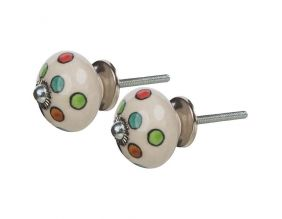 Boutons de porte en céramique ronds colorés (Lot de 2)